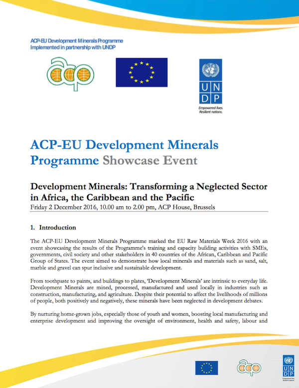 ACP-EU Development Minerals Programme Showcase Event
